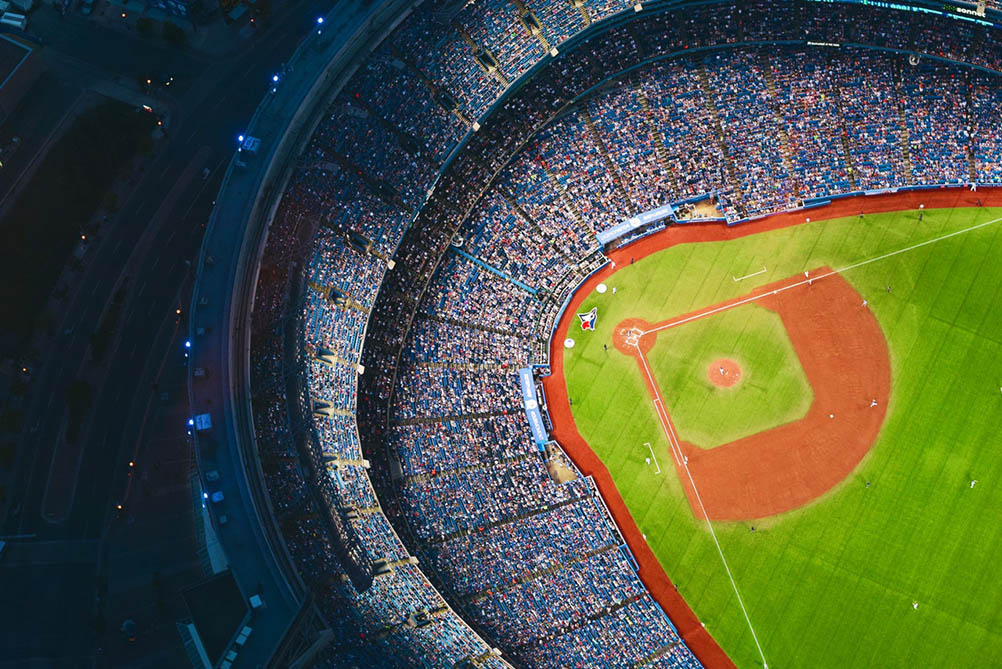 Aerial View of the Toronto Blue Jays Baseball Stadium in Canada.
